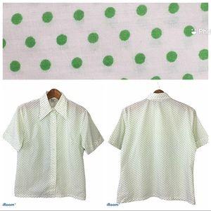 Retro 70's Pointy Dagger Collar Green White Blouse
